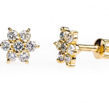 Alcor пусеты из желтого золота с бриллиантами