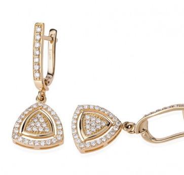 Серьги из желтого золота с бриллиантами Potina