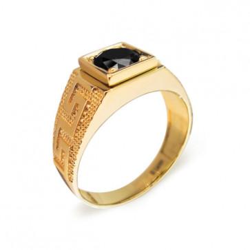Glee золотое кольцо с черным бриллиантом
