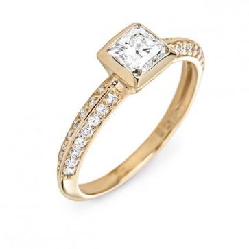 Кольцо с бриллиантом огранки принцесса Enapa