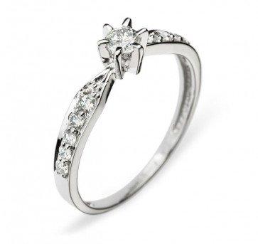 Кольцо с бриллиантами из белого золота R0320