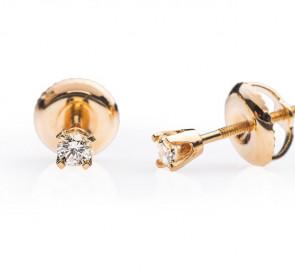 Subra пусеты из желтого золота с бриллиантами