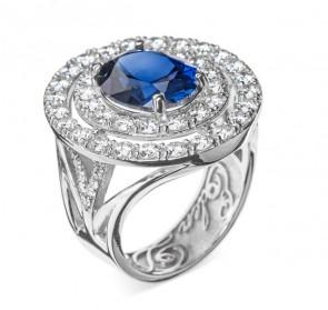 Air кольцо с сапфиром и бриллиантами